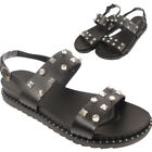 Ladies Studs Diamante Embedded Dual Strap Buckle Sandals Beach Party Slippers UK