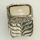 Engraved Wings Design Silver Ring with Rectangle shaped Pearl.