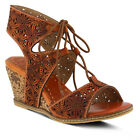 New In Box L'Artiste Women's VANNESSA-CA Camel Tan Leather Ghillie Sandals