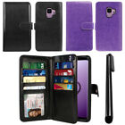 "For Samsung Galaxy S9 5.8"" Flip Card Holder Wallet Cover Case Wrist Strap + Pen"