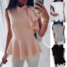 Fashion Summer Blouses Women Ruffle Stitching Shirts Butterfly Sleeve Tops