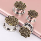 2Pcs Set 5mm-12mm Flower Copper Ear Tunnels Plugs Ear Expander Earring Piercings