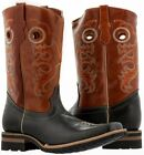 Mens Black Leather Honey Brown Cowboy Boots Western Wear Rodeo Square Toe