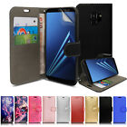 For Samsung Galaxy A8 2018 A530F Genuine Black Leather Wallet Phone Cover Case