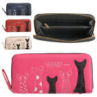 Ladies Girls Large Faux Leather Zip Round Purse with Cat Design RFID Blocking