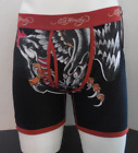 Ed Hardy Men's Cotton Premium Boxer Brief Panther Dragon Burgundy Tattoo Print