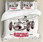 Cars Duvet Cover Set Queen Size, Retro Style Race Car Emb...
