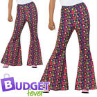 60s Psychedelic CND Flared Trousers Adults Fancy Dress Peace Ladies Mens Costume