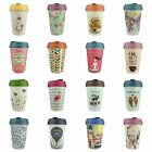 13.5oz 400ml Eco Reusable Coffee Cups, Bamboo With Thermal Sleeve Various Styles