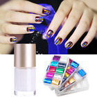 Holographic Nail Foils Glue Set Transparent AB Color Starry Sky Nail Art Sticker