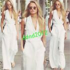 Street Fashion Women V-Neck Sleeveless Linen Loose Rompers Loose Jumpsuit Summer