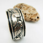 Silver Spinner Ring. Anxiety ring. Engraved Leaves and Nature Pattern