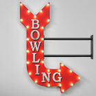 "36"" Double Sided BOWLING Pins Bowl Ball Metal Arrow Marquee Light Up Open Sign"