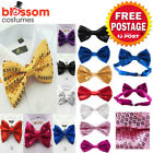 K615 Unisex Sequins Costume Bow Tie Wedding Dance 1920s Gangster Bowtie Mafia