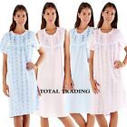 Ladies Floral Short Sleeve Night Shirt Nightdress Summer Nightie Cotton Poly