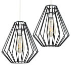 Modern Black Wire Cage Ceiling Pendant Light Shade + LED Vintage Filament Bulb