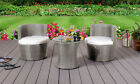 3 Piece Rattan Bistro Stackable Patio Garden Furniture Set - Table & 2 Chairs