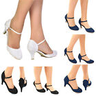 LADIES LACE EMBELLISHED LOW HEEL ANKLE STRAP FULL TOE WEDDING BRIDAL PROM SHOES