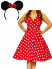 MRS@ Funfash Plus Size Halloween Costume Red White Dots Dress Minnie Mouse Ears