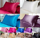 UK 1X Silk Satin Duvet Cover Silky Bedding Set Fitted Sheet Pillow Cases Cushion