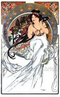 Mucha White Nouveau Lady Fabric Quilt Block Multi Szs FrEE ShiPPinG WoRld WiDE