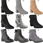 Womens Ladies Ankle High Boots Low Block Heel Flat Smart Casual Shoes Size New