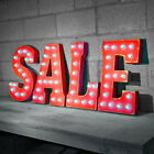 SALE Sign Store Clearance Retail Save Vintage Rustic Metal Marquee Light Up Sign