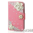 Bling Crystal Diamonds PU leather flip wallet book case cover for Apple Google