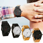 Fashion Men Sport Stainless Steel Leather Band Quartz Analog Wrist Watch Gifts