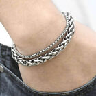"8mm Stainless Steel Double Bracelet Wheat Chain Silver Tone Box Chain Mens 8-10"" image"