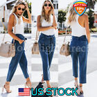 Women's Casual Loose Denim Jeans Pants Fit Lace Up Straight