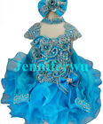 glitz Infant/toddler/kids/baby Pageant/prom/formal glued rhinestone Dress