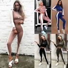 Sexy Womens Lady Tracksuit Long Sleeve Crop Top &Pants Workout Sports Suit