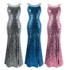 Angel-fashions Women's Round Neck Beading Sequin Backless Slit Party Dress 090