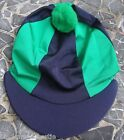 Riding Hat Silk Skull cap Cover NAVY & EMERALD GREEN With OR w/o Pompom