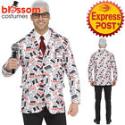 CA812 Fake Newsreader News Reader Anchorman Mens Comedy 70s Ron Costume Outfit