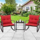 3pc Rattan Wicker Coffee Table Rocking Chair Patio Garden Outdoor Furniture Set
