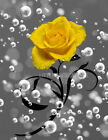 Yellow Gray Bathroom Wall Art, Yellow Rose Modern Wall Art Picture