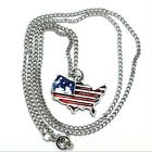 Enameled Pewter USA Flag Map Charm on a Link Chain Necklace - 5407