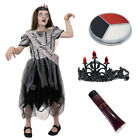 GOTHIC ZOMBIE PROM QUEEN GIRLS HALLOWEEN GOTH FANCY DRESS CHILDS DEAD BRIDE