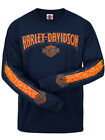Harley-Davidson Mens Skull Stripe Willie G Pattern Navy Blue Long Sleeve T-Shirt $19.99 USD on eBay