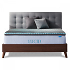 LUCID 2.5 Inch Bamboo Charcoal and Memory Foam Mattress Topper - Twin Full Queen image