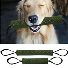 Dog Bite Tug Durable Jute Pet Training Chewing Toy 2 Handles Playing Army Green