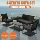 Dreamo Living 4PC Outdoor Furniture Patio Wicker Dining Table Chairs Garden