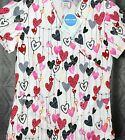 Womens Valentine nurse Scrub Top  S M  ot 2X  white with Hearts print