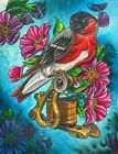 Heritage by 2 Cents Bird with Vintage Tattoo Gun & Flowers Framed Wall Art Print