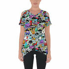 Cute Graffiti Cold Shoulder Tunic Top