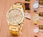 Fashion Women men Lady diamond crystal stainless steel quartz Wrist Watch image