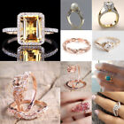 Women 18k Yellow Gold Filled White Sapphire Wedding Bridal Ring Jewelry Sz 5-10