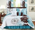 Six (6) Piece Printed Comforter Set- Floral- Turquoise- King or Queen image